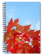 Autumn Landscape Fall Leaves Blue Sky White Clouds Baslee Spiral Notebook