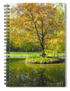 Autumn Landscape With Red Tree Spiral Notebook