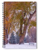 Autumn Snow Park Bench   Spiral Notebook