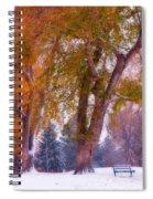 Autumn Snow Park Bench Peace Spiral Notebook