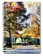 Autumn Street With Yellow House Spiral Notebook