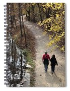 Autumn Walk On The C And O Canal Towpath With Oil Painting Effect Spiral Notebook