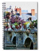 Azay-le-rideau, Loire Valley, France, Bridge With Flowers Spiral Notebook