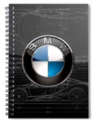 B M W  3 D  Badge Over B M W I8 Silver Blueprint On Black Special Edition Spiral Notebook