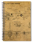 B29 Superfortress Military Plane World War Two Schematic Patent Drawing On Worn Distressed Canvas Spiral Notebook