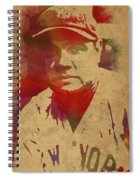 Babe Ruth Baseball Player New York Yankees Vintage Watercolor Portrait On Worn Canvas Spiral Notebook