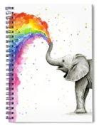 Baby Elephant Spraying Rainbow Spiral Notebook