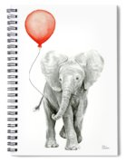 Baby Elephant Watercolor Red Balloon Spiral Notebook