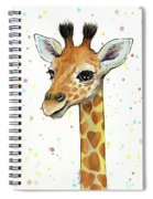 Baby Giraffe Watercolor With Heart Shaped Spots Spiral Notebook