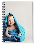 Baby Girl Covered With A Blue Warm Blanket Spiral Notebook