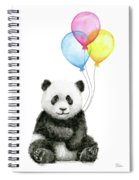 Baby Panda Watercolor With Balloons Spiral Notebook