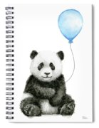 Baby Panda With Blue Balloon Watercolor Spiral Notebook