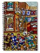 Backlane Snowy Winter Scene Hockey Game Verdun Alley Montreal Team Jerseys Canadian Art Spiral Notebook