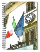 Balcony With Flags And Clock Spiral Notebook