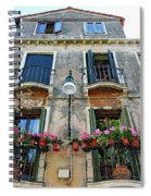 Balcony With Flowers In Venice, Italy Spiral Notebook