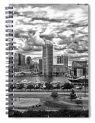 Baltimore Inner Harbor Dramatic Clouds Panorama In Black And White Spiral Notebook