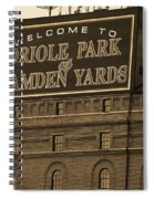 Baltimore Orioles Park At Camden Yards Sepia Spiral Notebook