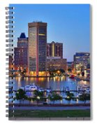 Baltimore Skyline Inner Harbor Panorama At Dusk Spiral Notebook