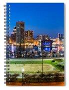 Baltimore Skyline Panorama At Dusk Spiral Notebook