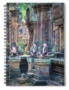 Banteay Srey Temple Pink Monkeys Spiral Notebook