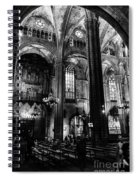 Barcelona Cathedral Interior Bw Spiral Notebook