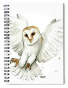 Barn Owl Flying Watercolor Spiral Notebook