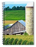 Barn Silo And Crops In Nys Expressionistic Effect Spiral Notebook