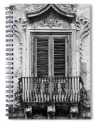 Baroque Balcony Window. Messina, Sicily.    Black And White Spiral Notebook
