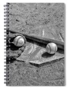 Baseball Game In Black And White Spiral Notebook