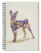 Basenji Dog Watercolor Painting / Typographic Art Spiral Notebook
