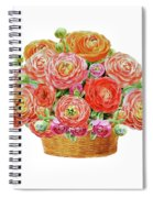 Basket With Ranunculus Flowers Watercolor Spiral Notebook