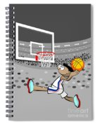 Basketball Player Jumping And Flying To Shoot The Ball In The Hoop Spiral Notebook