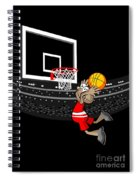 Basketball Player Jumping In The Stadium And Flying To Shoot The Ball In The Hoop Spiral Notebook