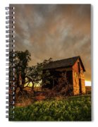 Basking In The Glow - Old Barn At Sunset In Oklahoma Panhandle Spiral Notebook