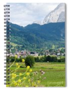 Bavarian Alps With Village And Flowers Spiral Notebook