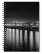 Bay Bridge San Francisco California Black And White Spiral Notebook