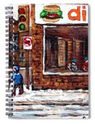 Scenes De Rue De Montreal St Henri Partie De Hockey En Hiver Hockey At Dilallo's Burger Spiral Notebook