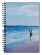 Beach Painting - The Lone Surfer Spiral Notebook