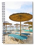 Beach Umbrellas And Chairs On Sandy Seashore Spiral Notebook