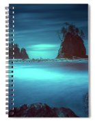 Beach With Sea Stacks In Moody Lighting Spiral Notebook