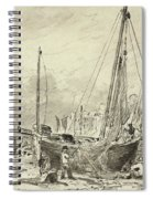 Beached Fishing Boats With Fishermen Mending Nets On The Beach At Brighton, Looking West Spiral Notebook
