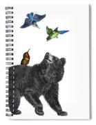 Bear With Birds Antique Illustration Spiral Notebook