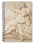 Bearded Man Embracing A Young Woman Spiral Notebook