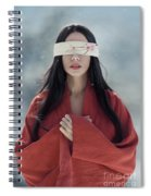 Beautiful Asian Woman With Red Sensual Lips Standing In The Snow Spiral Notebook
