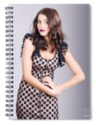 Beautiful Brunette Girl Wearing Retro Zipper Dress Spiral Notebook