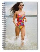 Beautiful Brunette Model On The Beach Spiral Notebook