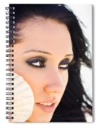 Beautiful Girl Holding A Cockle Shell Spiral Notebook