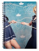 Beautiful Navy Pinup Girls On Marine Background Spiral Notebook