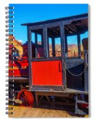 Beautiful Red Calico Train Spiral Notebook