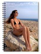 Beautiful Sexy Woman In Bikini Relaxing On A Rocky Seashore Spiral Notebook